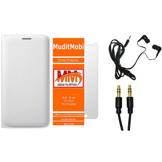 MuditMobi Premium Leather Flip Case Cover With Screen Protector,Earphone  Aux Cable For- Samsung Galaxy J2 -White