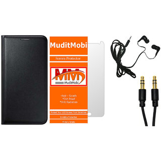 MuditMobi Premium Leather Flip Case Cover With Screen Protector,Earphone  Aux Cable For- Micromax Canvas 6 Pro E484 -Black