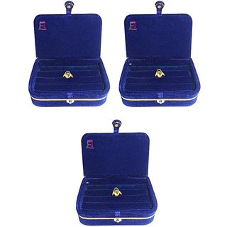 Atorakushon 3 pc Jewellery Ring Box Jewelry Pouch Vanity Makeup Storage Travel Bag Organizer