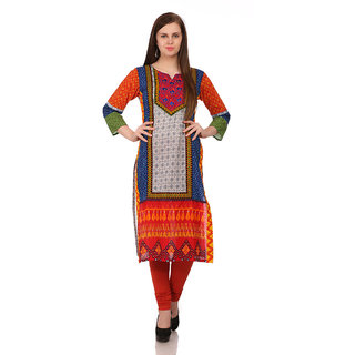 Sabhyata WomenS Cotton 3/4 Sleeve Straight Kurta (Mutlicolor)