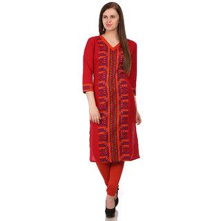 Sabhyata WomenS Cotton 3/4 Sleeve Straight Kurta (Red)