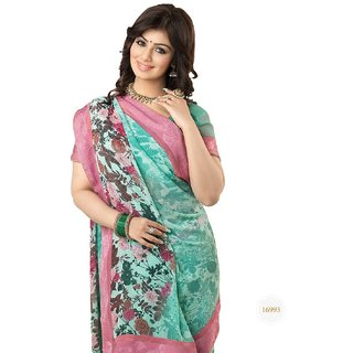 Snapshopee Multicolor Georgette Printed Saree With Blouse