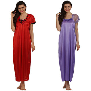 1c692834a Buy Miavii Multicolor Satin Solid Nighty (Pack Of 2) Online - Get 61 ...