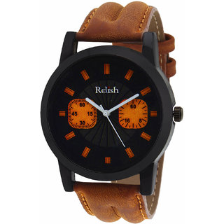 Relish Casual Tan Leather Strap Mens Watch RELISH-536