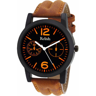 Relish Round Dial Brown Leather Strap Quartz Watch for Men