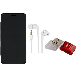 MuditMobi Premium Quality Flip Case Cover With Earphone  Card Reader For- Nokia Lumia 520 - Black