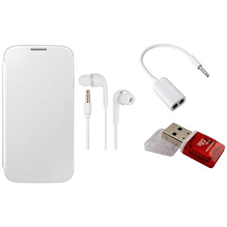 MuditMobi Flip Case Cover With Earphone, Audio Jack  Card Reader For-Micromax Canvas 2 A120 -White