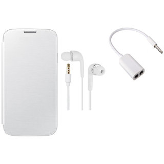 MuditMobi Quality Flip Case Cover With Earphone, Audio Jack For- Micromax Canvas Fun A74 - White
