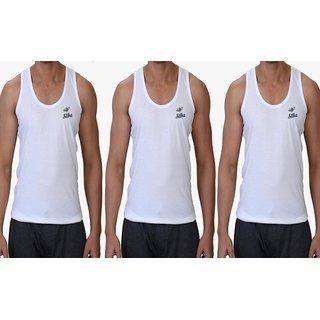 Silba Men White Cotton Vest(Pack of 3)