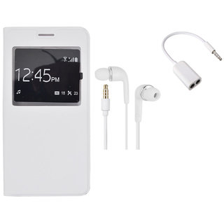 MuditMobi Quality Flip Case Cover With Earphone, Audio Jack For- Samsung Galaxy S4 - White