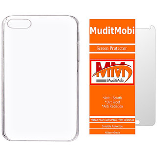 MuditMobi Transparent Back Cover With Screen Protector For- Micromax Canvas Spark 2 Plus
