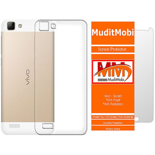 MuditMobi Transparent Back Cover With Screen Protector For- Vivo Y27L