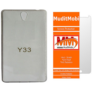 MuditMobi Transparent Back Cover With Screen Protector For- Vivo Y33