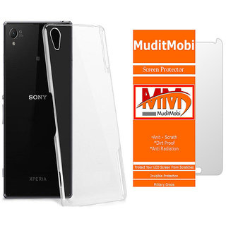 MuditMobi Transparent Back Cover With Screen Protector For- Sony Xperia Z1