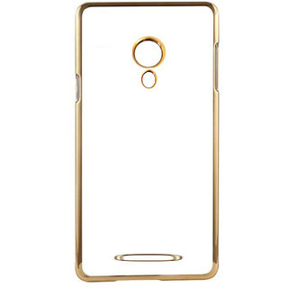 MuditMobi Meephone Silicon Electroplated Ultra Thin TPU Back Case Cover For- Micromax Juice 2 AQ5001- Transparent-Gold