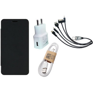 MuditMobi Flip Case Cover With Travel Dog Charger Data Cable and 5in1 Cable For- Micromax Canvas Nitro A310 - Black