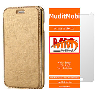 MuditMobi Leather Flip With Soft TPU TransParent Back Case Flip Cover With Screen Protector For- Oppo F1 -Golden