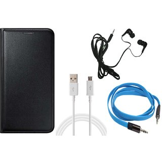 MuditMobi Leather Flip Case Cover With Earphone,Data Cable  Aux Cable For-Lava X46 -Black