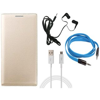 MuditMobi Leather Flip Case Cover With Earphone,Data Cable  Aux Cable For-Micromax Bolt Q346 -Golden