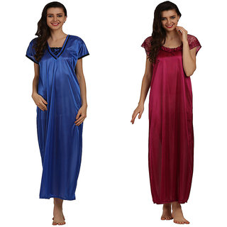 Miavii Multicolor Satin Solid Nighty (Pack Of 2)