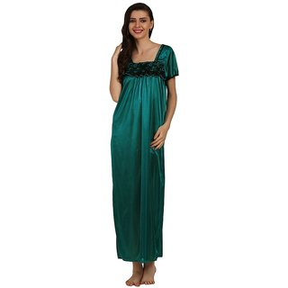 Miavii Green Satin Printed Nighty
