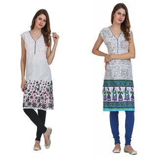 Miavii Multicolor Cotton V-Neck Sleeveless Printed Kurti (Pack Of 2)