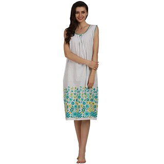 Miavii Green Cotton Printed Nighty