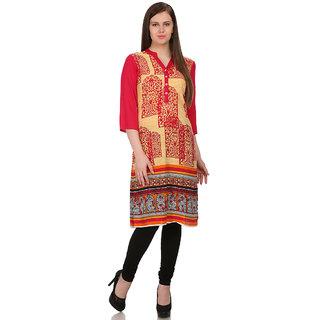 Sabhyata WomenS Cotton 3/4 Sleeve A-Line Kurta (Yellow, Pink)
