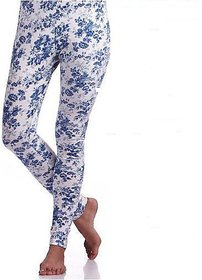 Blue white Floral Printed Leggings
