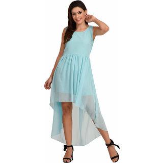 8cab297342a2 Buy Rosytint Womens Cyan Plain High Low Western Dress Online - Get 58% Off