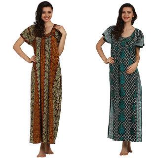 Miavii Multicolor Cotton Printed Nighty (Pack Of 2)