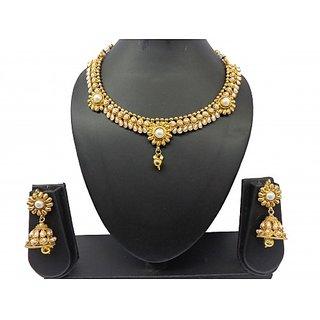 09d2ef7f4 Buy Kyria Designer Golden Pearl Necklace Jhumki Earrings Online - Get 48%  Off