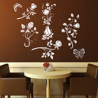 Creatick Studio Abstract Flowers Wall Sticker(34x26Inch)