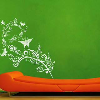 Creatick Studio ButterFly Swirl Branch Wall Sticker(23x25Inch)