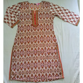 Cotton Block Print Ethnic Style Kurti Size  L Orange