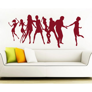 Creatick Studio  Dancing Peoples Wall sticker (30x13Inch)