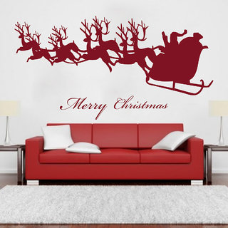 Creatick Studio  Santa comes with Deers Wall sticker    (20x10Inch)