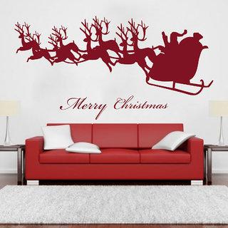 Creatick Studio  Santa comes with Deers Wall sticker    (30x15Inch)