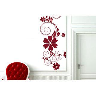 Creatick Studio  Green Flower Floral Wall sticker(16x33Inch)