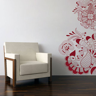 Creatick Studio  Peacock Pattern Wall sticker (21x45Inch)