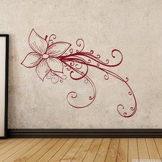 Creatick Studio  Rose Floral Wall sticker (29x22Inch)