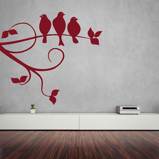 Creatick Studio  Sparrows On Branch Wall sticker(40x36Inch)