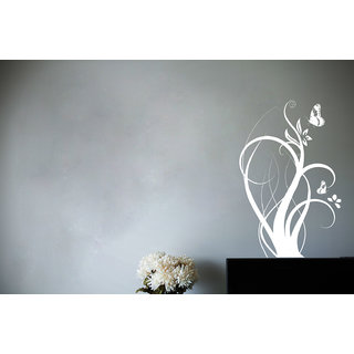 Creatick Studio Floral Branch with ButterFlies Wall Sticker(25x39Inch)