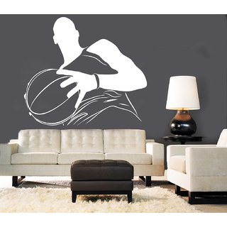 Creatick Studio Men with Football Wall Sticker(38x33Inch)