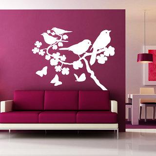 Creatick Studio Black Florals Wall Sticker(18x30Inch)