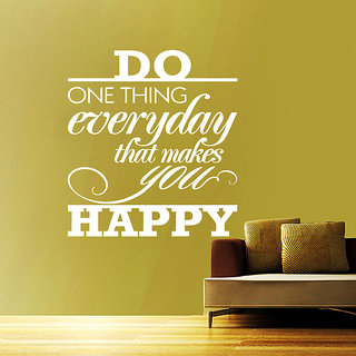 Creatick Studio Happy Quote Wall Sticker(23x28Inch)