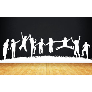 Creatick Studio Child Play Group Wall Sticker(35x10Inch)