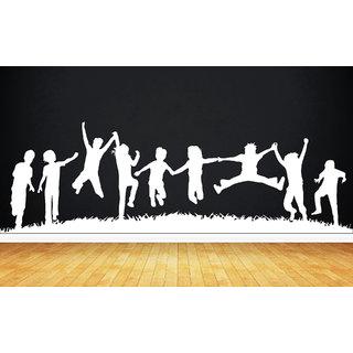 Creatick Studio Child Play Group Wall Sticker(48x14Inch)