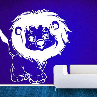 Creatick Studio Cute Lion Wall Sticker(36x39Inch)