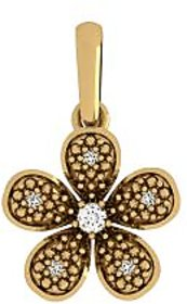 Flower Gold Pendant With Natural Diamond